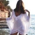 Sexy Ladies Beach Крышку Ибп Sexy 2016 Лето Для Женщин Белый кружева Блузка Рубашки Летние Купальники Купальный Костюм V шеи Мини Платья