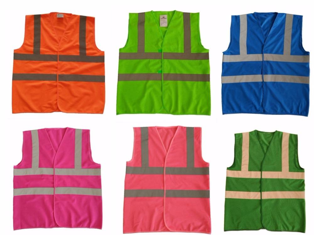 6 Colors High Visibility Reflective Safety Vest Chaleco Reflectante Amarillo Polyester Lote Seguridad for Dark Night Working salzmann 41001 cute reflective polyester key toy grey