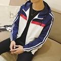 2016 Men Fall Jacket Top Quality Patchwork Color Hooded Men's Jackets Korean Slim Fit Man Coat Big Size Long Sleeve Mens Clothes