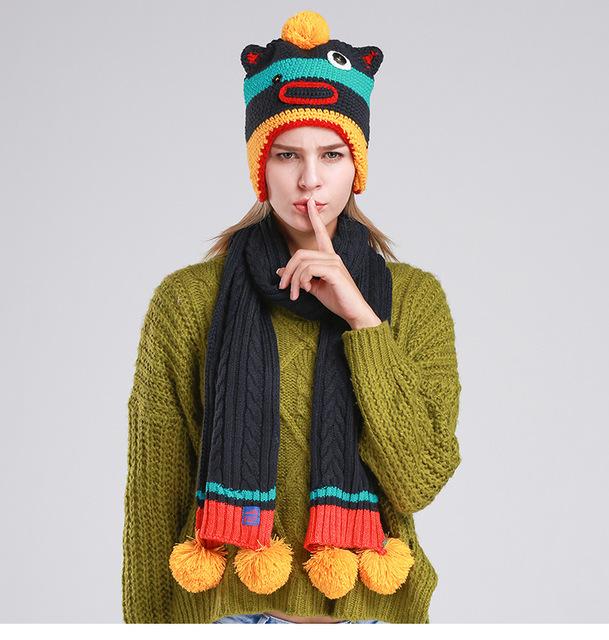 Pure mão-tecido cachecol mulheres inverno quente chapéu chapéu de um único chapéu