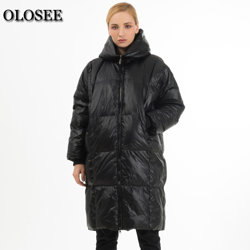 2017 New Fashion Women's White Duck Down Coat Female Loose Casual Winter Thick Warm Hooded Down Jackets Long Parka Outerwear ynzzu 2017 new womens winter jackets 90% white duck down coat long sleeve thick warm women winter coat hooded double face o082