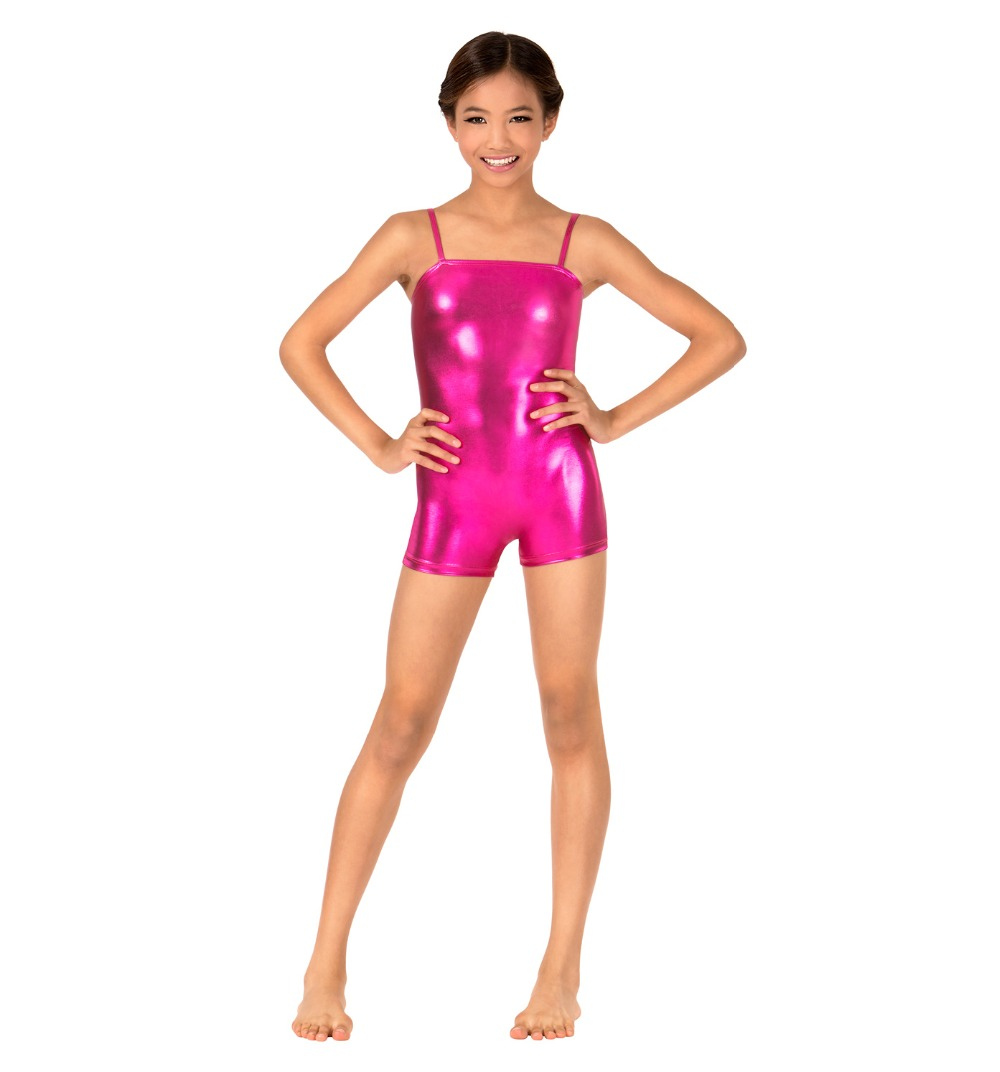 Child Metallic Camisole Shorty Unitard For Girls Shiny Biketards Kids Ballet Dance Leotards Sleeveless