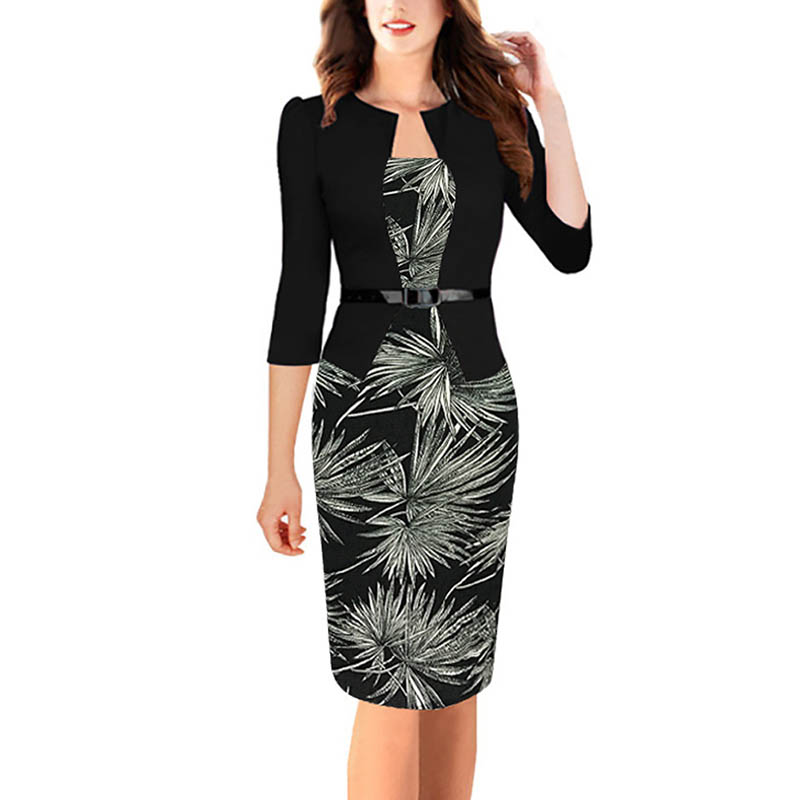 Women's Lady Dress Fake Two Pieces Set Long Sleeve Fashion Sexy Clothing Medium Length H9