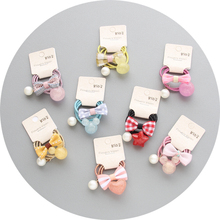 12Pcs/set boutique toddlers elastic hair rubber bands candy bowknot kids Pearls hair ties rope girls hair accessories Q15