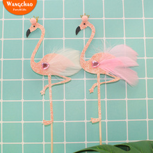 Pink Flamingo Feather Happy Birthday Cake Topper Party Supplies Cupcake Decoration Kids Favor Baby Shower