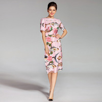 High quality new Spring 2018 autumn designer o neck rose embroidery patch fish print short sleeved Slim runway female Dress