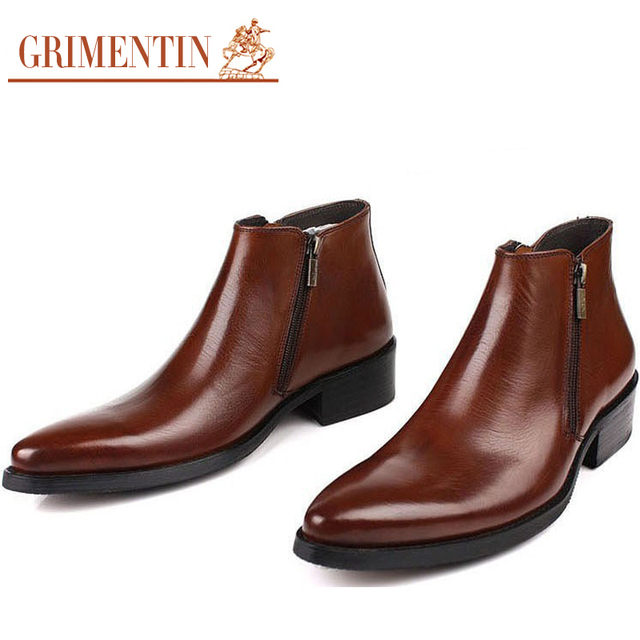 High Quality Mens Ankle Boots Genuine Leather Pointed Toe Autumn Winter Zip Elegant Italian Dress botas Size:6.5-11 Bo6