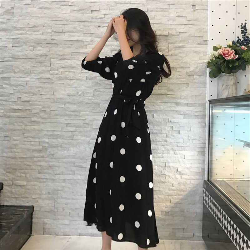 Women Spring Fashion 2019 A-Line Long sleeve Lace stitching Dress Sexy Solid One word collar  princess Dress vestidos HD-C015