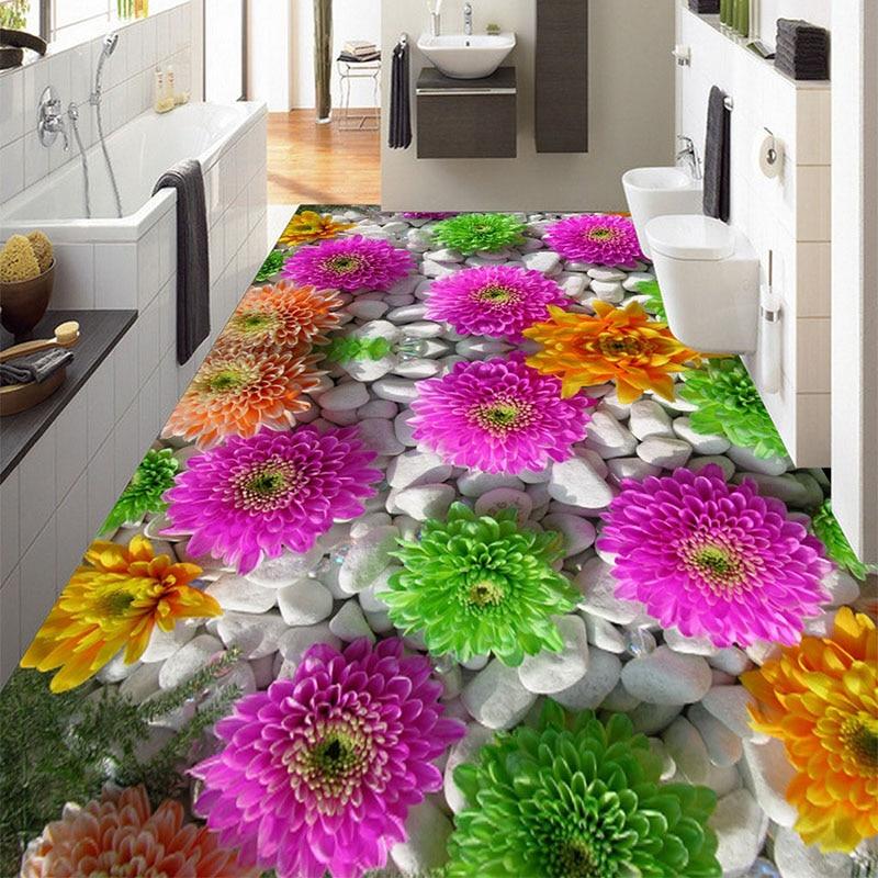 Custom 3D PVC Self-adhesive Floor Mural Wallpaper Blossoming Lively Flowers Waterproof <font><b>Wall</b></font> Paper Living Room Bathroom <font><b>Sticker</b></font>