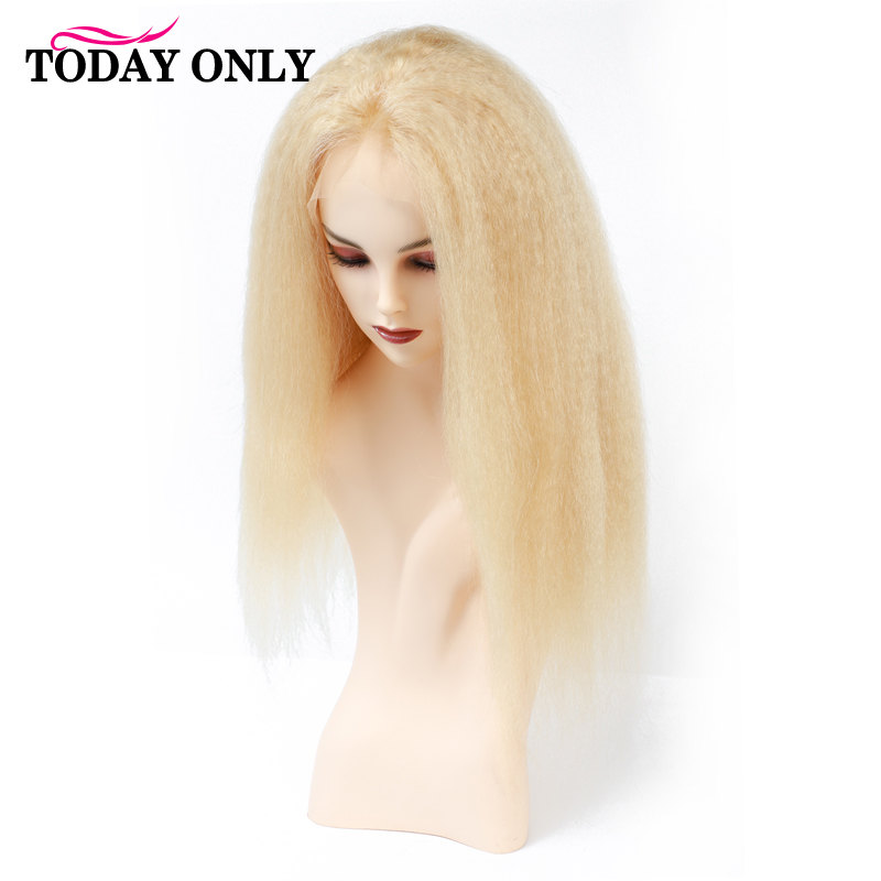 Blond Kinky Straight Human Hair Wig Peruvian Honey Blonde Lace Front Wig 613 Glueless 13X4 Lace Front Human Hair Wigs Remy image