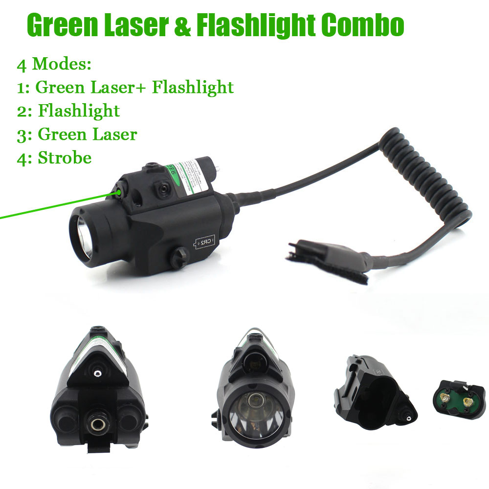 Compact Tactical Pistol LED Flashlight Red Green Laser Sight for Standard Rail Gun Laser Light high quality 2 in 1 tactical insight red laser cree q5 led 300 lumen flashlight sight combo for pistol gun 2x3v cr123a