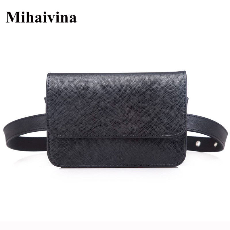 Mihaivina Women Vintage PU Leather Waist Bag Luxury Trendy Waist Packs Fanny Pack Small Coin Purse Female Handbag On The Belt