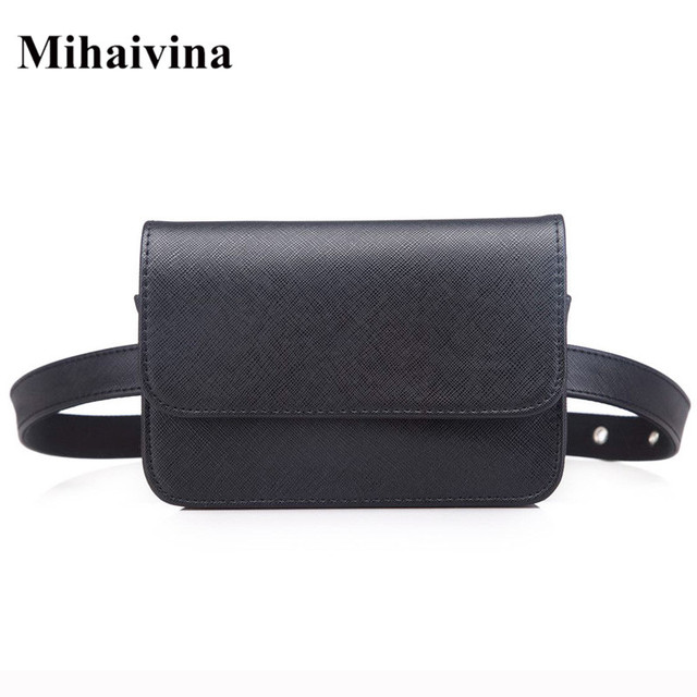 Mihaivina Women Vintage PU Leather Waist Bag Luxury Trendy Waist Packs Fanny Pack Small Coin Purse Female Handbag On The Belt