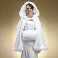 2019 Winter Bridal wrap Hooded with Faux Fur Trim Short for Bride Winter Wedding Cloak Cape white faux fur shawl