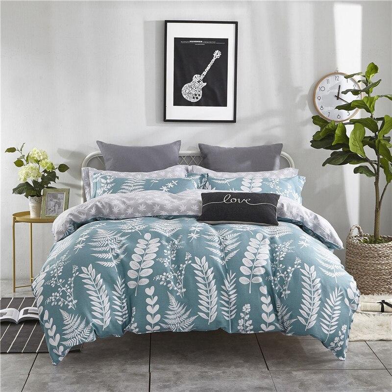 100% Coton Doux Drap de Lit Taie D'oreiller housse de Couette set ensemble de Literie lits reine unique double taille pour Enfants vert feuille lit ensemble