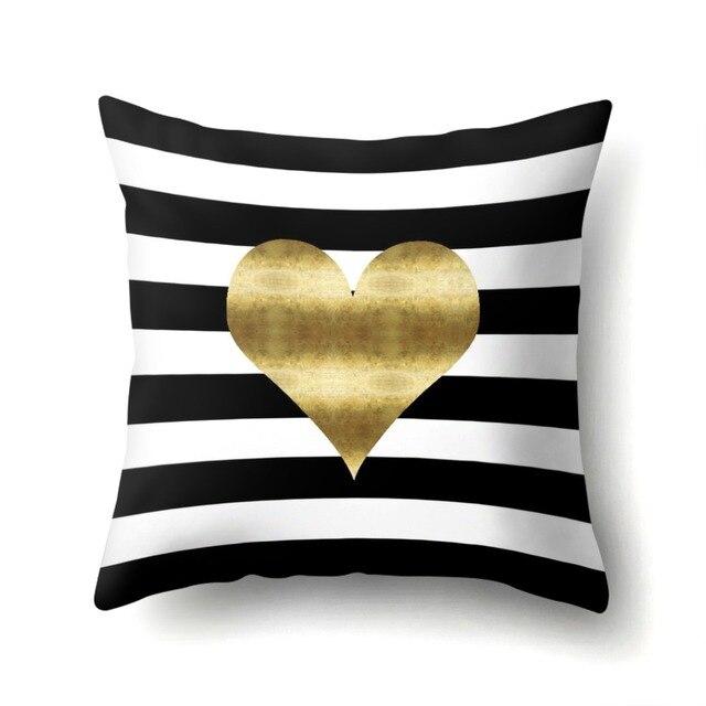 Fodere per Cuscini Flamingo Cuore Geometrica Amore Oro Nero Bianco Decorativo Co