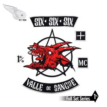 SIX VALLE DE SANGRE custom Motorcycle patch Embroidery Iron On back patches for jacket garment accessory