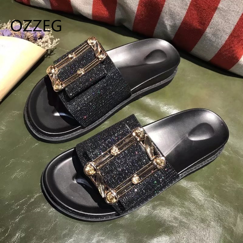 Summer Platform Slippers Women Flat Beach Sandals Slippers Fashion Bling Crystal Slip On Ladies Shoes Female Slides Sliver Gold 2016 summer patent leather buckle slides for women fashion stone upper flat platform ladies casual beach slippers sandals shoes