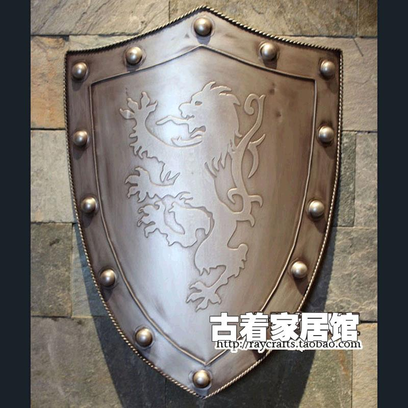 Package post / European iron metal shield / European Medieval Knight / ancient Rome Samurai armor / bar background wall