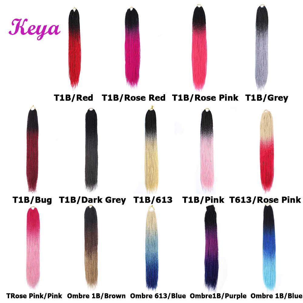Ombre Senegalese Twist 24 Inch Crochet Braids 14 Colors Available Synthetic Crotchet Braiding Pink Hair Blue Braids For Women