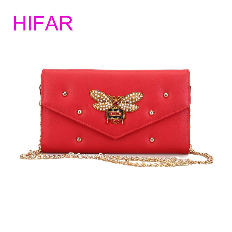 2018 Women fashion rivet Bee Purses and Handbags Small Chain Crossbody Bag For Ladies Evening Bags Party Bag Bolsa Feminina