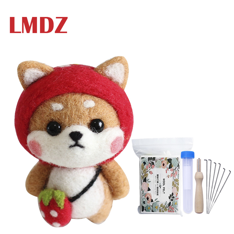 LMDZ Needlecrafts Needle Felted Character Kit Set Shiba Inu Dog Needle Felting Starter Kit For Beginners With Felting Tools