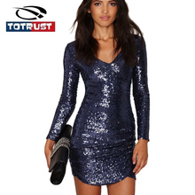 Blue long sleeve sequin dress online shopping-the world largest ...