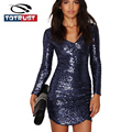 Blue Sequined Dress Party 2017 Women Glitter Mini Dress Plus Size Sexy Long Sleeve Dress Party Night Club Dress Femme Vestidos