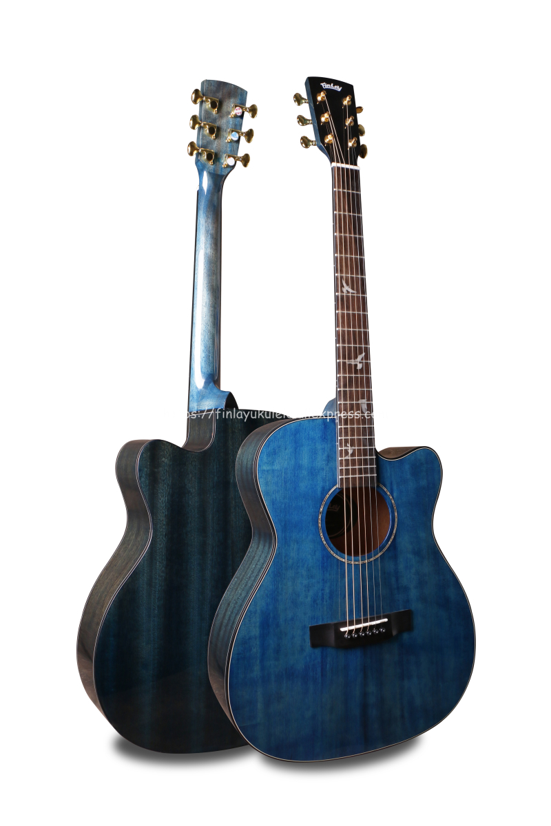 """Finlay 40"""" Cutaway Acoustic Guitar,Solid Spruce Top/Mahogany Body, guitars china With Hard case,Peace dove mosaic fingerboard"""