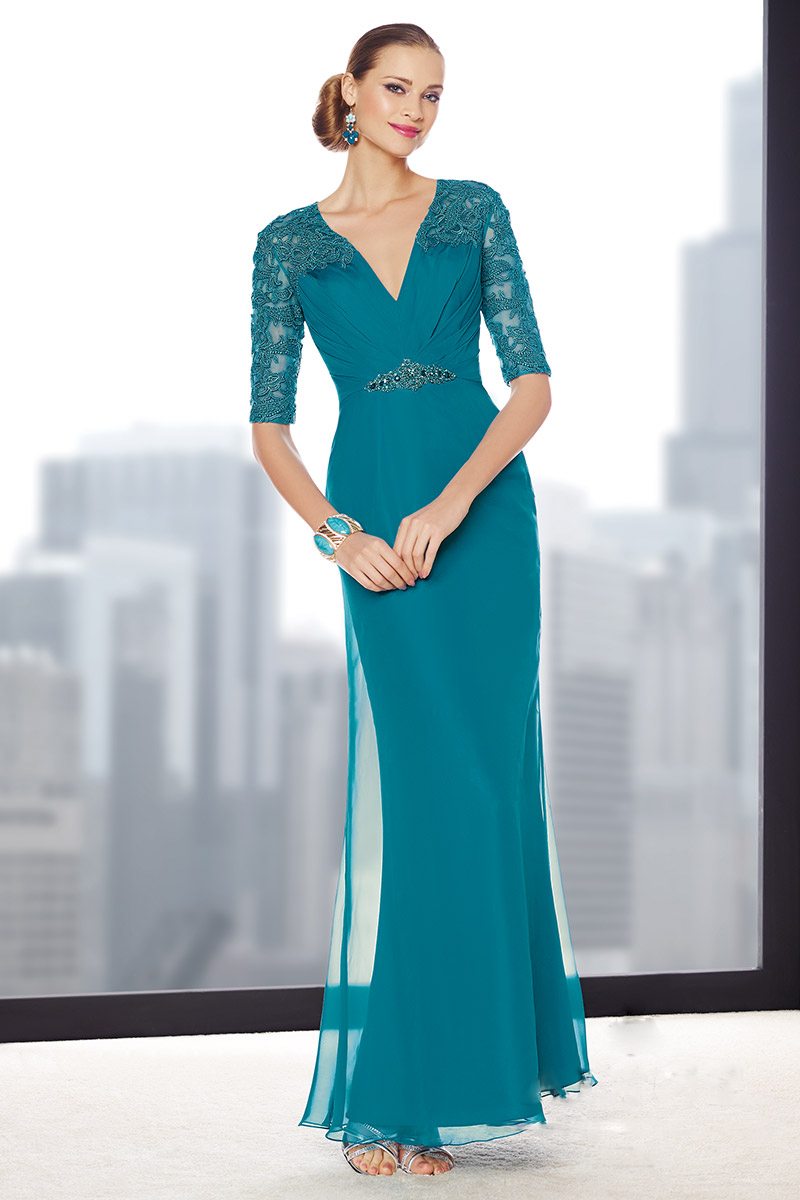 New 2015 Chiffon Long Blue Brides Mother Dresses For Wedding Appliques Mother of the Bride Dresses With Half Sleeves in Mother of the Bride Dresses from Weddings Events