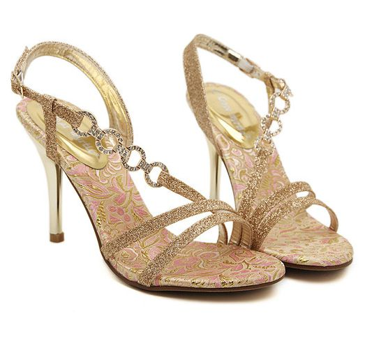10CM thin high heeled womans summer gold sandals shoe, chains rhinestones DS088 sexy peep open toe cut outs party dress sandal