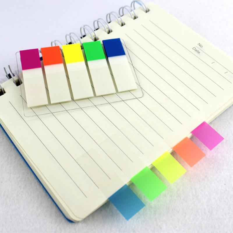 100Pcs Transparent Color Plastic Index Tabs Flag Sticky Note Instruct Page Mark Stickers Post Label Office Papelaria Supplies