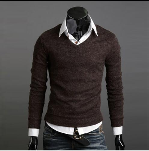 Sweater Pullover Men 2017 Male Brand Casual Slim Sweaters Men Thin Solid Decorative Badges Hedging V-Neck Men'S Sweater