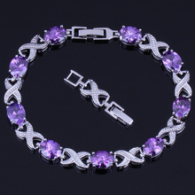 Charismatic Oval Egg Purple Cubic Zirconia 925 Sterling Silver Link Chain Bracelet 20cm 22cm For Women V0052