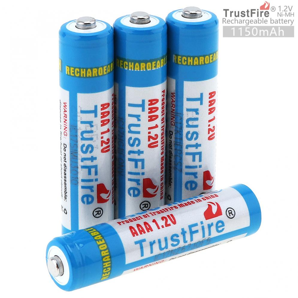 4pcs/lot TrustFire AAA NiMH Battery 1.2V 1150mAh Rechargeable Ni-MH Batteries with Low Self-discharge + Battery Storage Box Case