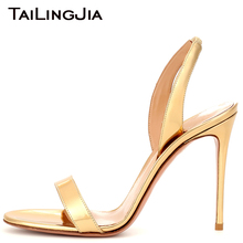 Woman Summer Sandals Gold Patent Leather Open Toe Hotsale High Heels Slip On Ladies Quality Brand Elegant Party Dress Shoes