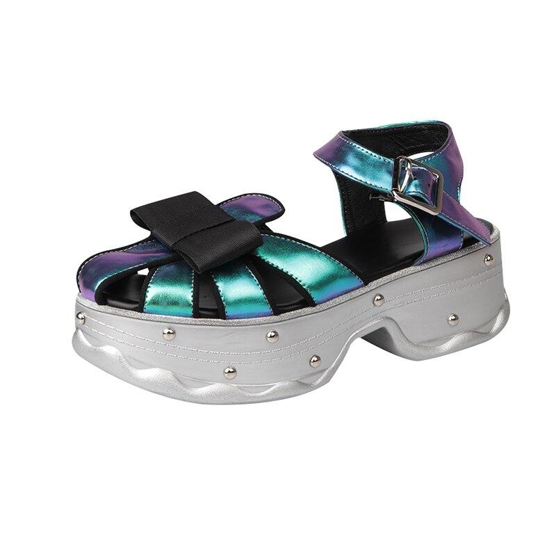 Gladiator Sandals Women Closed Toe Shoe 2019 Summer High Heels Female Shoes Platform Sandals For Woman