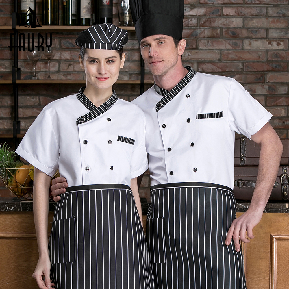 Short Sleeve Chef Jacket Summer Breathable Kitchen Restaurant Uniform Canteen Cafe Bakery Hotel Chef Shits Unisex Work Clothes