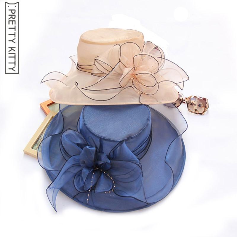 b698658b79c64 PRETTY KITTY Fashion Women s Church Hats For Women Flower Hat Summer Gorras  Sun Hat Wedding Derby Wide Brim Sea Beach Flowers