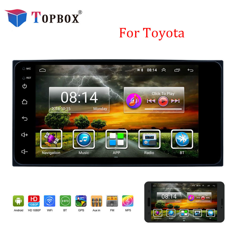 Topbox Android 2 Din Car Radio Multimedia Video Player 7 GPS Navigation Auto Stereo Buletooth Mirror Link Autoradio For ToyotaTopbox Android 2 Din Car Radio Multimedia Video Player 7 GPS Navigation Auto Stereo Buletooth Mirror Link Autoradio For Toyota