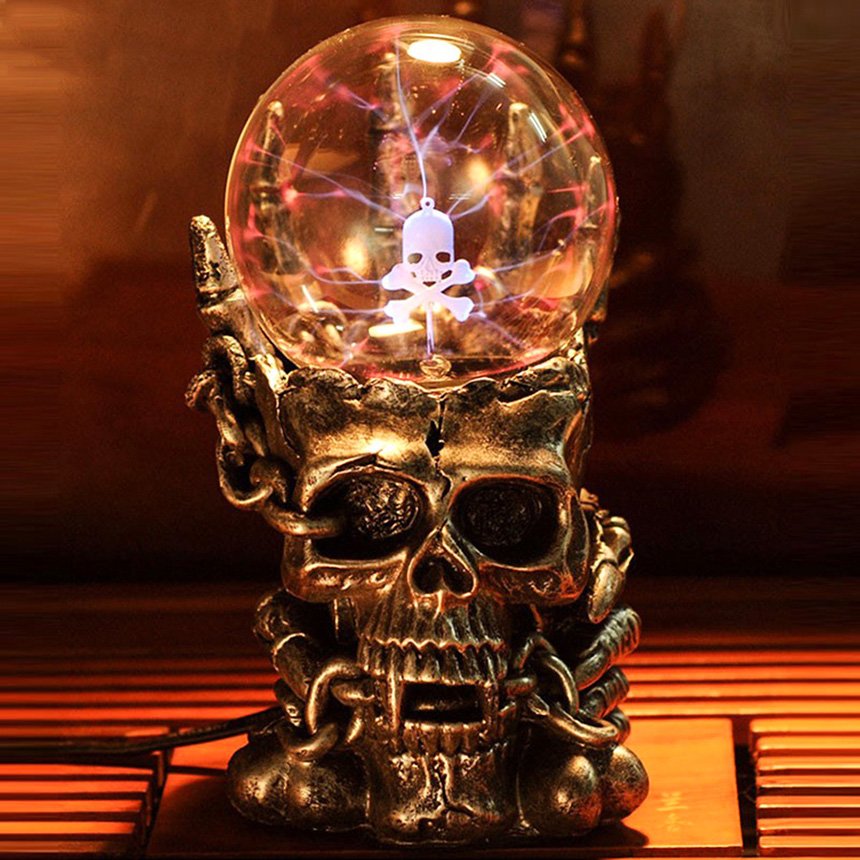 Supernatural Skull Head Magic Glass Ball Night Light Novelty Lamp New Light-emitting Tatic Plasma Touch Table Lights Luminaria novelty big size magic plasma ball new