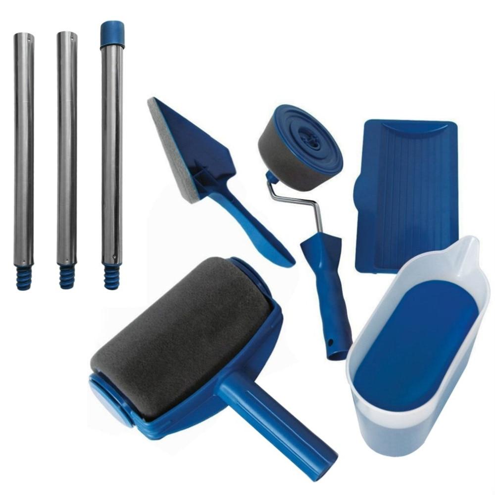 Rolo de pintura corredor rolos pro kit pintura de parede escova lidar com ferramenta edger sala jardim pintura + extensão pólo tubo diy
