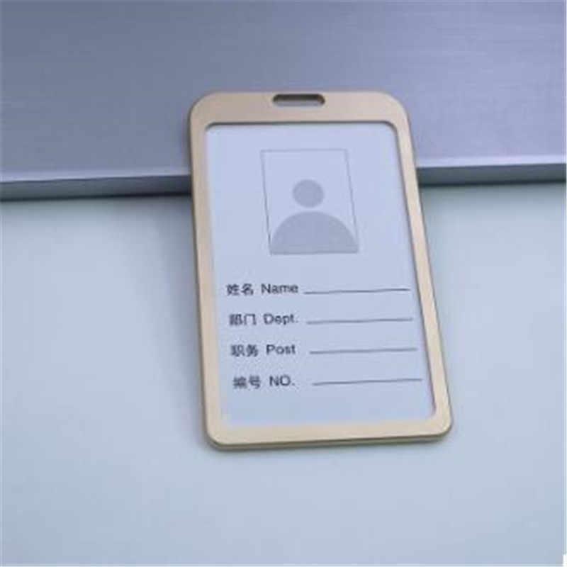 1PC wizytowniki do pracy ze stopu aluminium wizytowniki do pracy plakietka identyfikacyjna uchwyt smyczy Hot Vertical Metal ID pokrowiec biznesowy