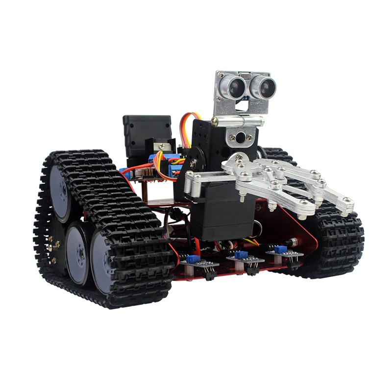 DIY Intelligent Transport HandlingTrack Robot Car With APP Control Obstacle Avoidance RC Toys Models Metal Material diy assembly puzzle metal intelligent control robot children educational toys