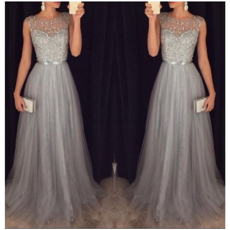 New Arrival 2017 Gray Prom Dress Long A line Beaded Sahses Tulle ...