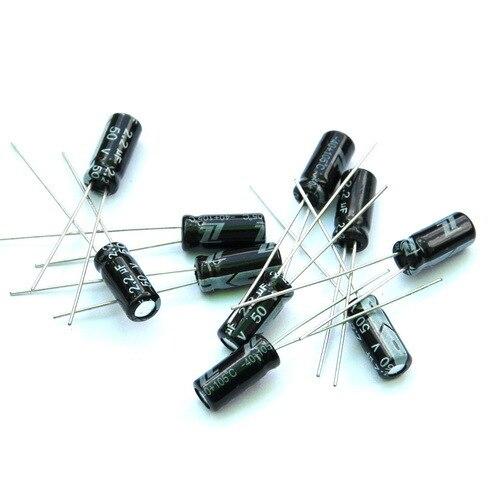 В (50 шт./лот) 2,2 мкФ 50 в алюминиевый электролитический конденсатор радиальная.