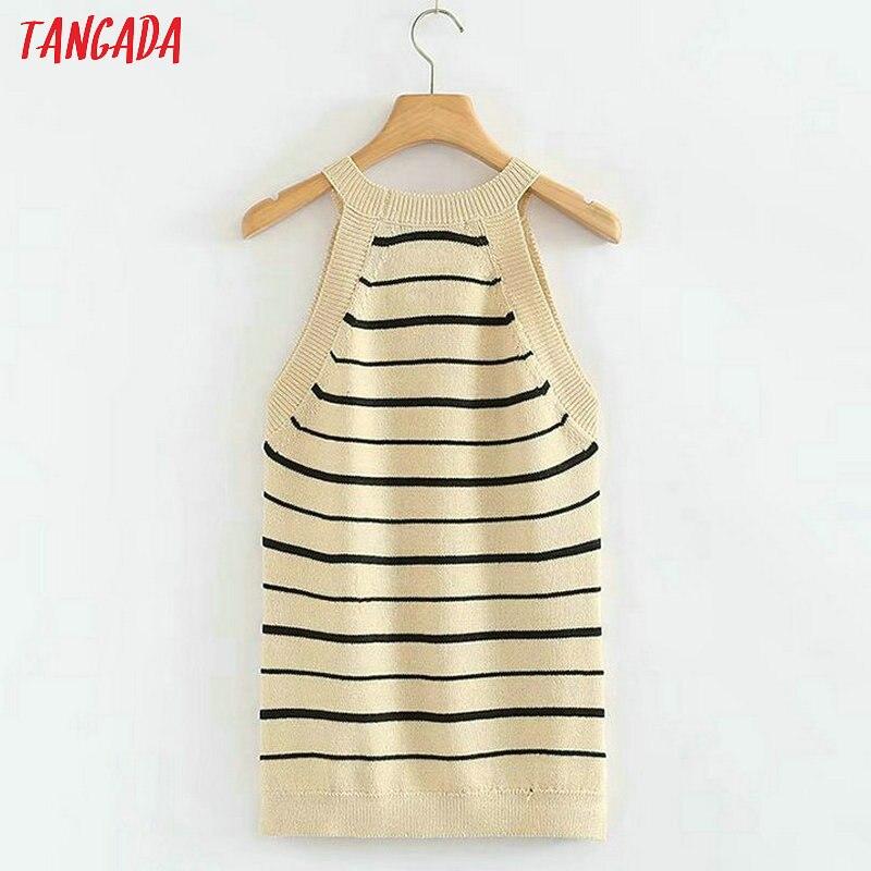 Tangada fashion women black striped knitted camisoles tank sexy 90s ...