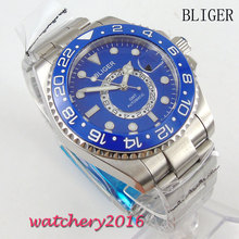 лучшая цена 43mm Bliger blue dial Men's Mingzhu Movement luminous marks GMT sapphire glass Automatic Watch