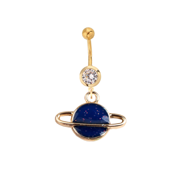 Us 1 36 28 Off Belly Button Ring Jewelry Saturn Belly Button Ring Stud Navel Piercing Planet Bar Barbell Galactic Galaxy Cosmic Space Jewelry In