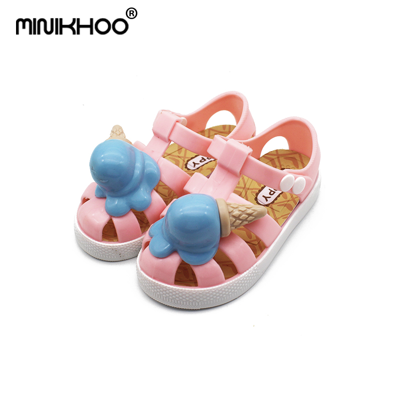 Mini Melissa Roman Ice Cream Girl Jelly Sandals Children Cute Princess Sandals Baby Shoes Children Shoes Melissa Jelly Sandals